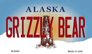 Grizzly Bear Alaska State Background Wholesale Novelty Metal Magnet