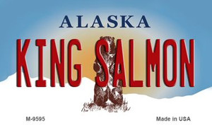 King Salmon Alaska State Background Wholesale Novelty Metal Magnet