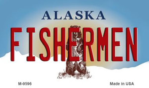 Fisherman Alaska State Background Wholesale Novelty Metal Magnet