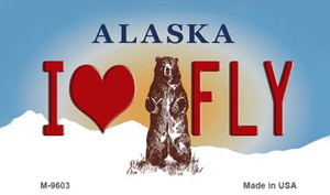 I Love Fly Alaska State Background Wholesale Novelty Metal Magnet