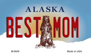 Best Mom Alaska State Background Wholesale Novelty Metal Magnet