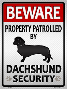 Dachshund Security Wholesale Metal Novelty Parking Sign