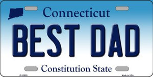 Best Dad Connecticut Background Wholesale Metal Novelty License Plate