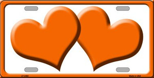 Solid Orange Centered Hearts With White Background Wholesale Novelty License Plate