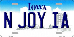N Joy IA Iowa Background Wholesale Metal Novelty License Plate