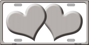 Solid Grey Centered Hearts With White Background Wholesale Novelty License Plate