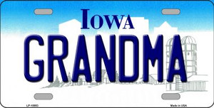 Grandma Iowa Background Wholesale Metal Novelty License Plate