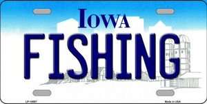Fishing Iowa Background Wholesale Metal Novelty License Plate