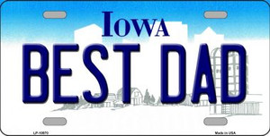 Best Dad Iowa Background Wholesale Metal Novelty License Plate