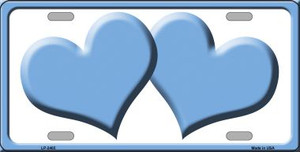 Solid Light Blue Centered Hearts With White Background Wholesale Novelty License Plate