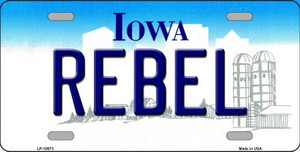 Rebel Iowa Background Wholesale Metal Novelty License Plate