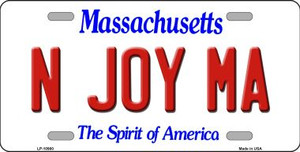 N Joy MA Massachusetts Background Wholesale Metal Novelty License Plate