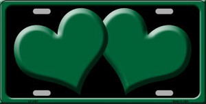 Solid Green Centered Hearts With Black Background Wholesale Novelty License Plate