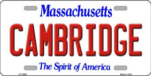 Cambridge Massachusetts Background Wholesale Metal Novelty License Plate