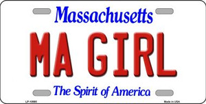MA Girl Massachusetts Background Wholesale Metal Novelty License Plate
