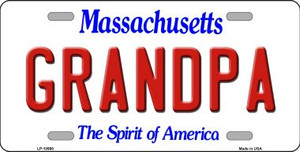 Grandpa Massachusetts Background Wholesale Metal Novelty License Plate