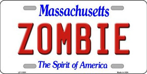Zombie Massachusetts Background Wholesale Metal Novelty License Plate