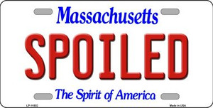Spoiled Massachusetts Background Wholesale Metal Novelty License Plate