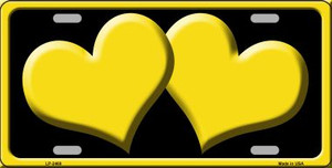 Solid Yellow Centered Hearts With Black Background Wholesale Novelty License Plate