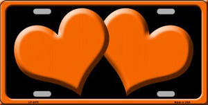 Solid Orange Centered Hearts With Black Background Wholesale Novelty License Plate LP-2470