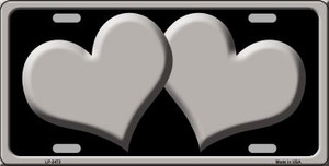Solid Grey Centered Hearts With Black Background Wholesale Novelty License Plate LP-2472