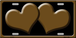 Solid Brown Centered Hearts With Black Background Wholesale Novelty License Plate