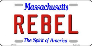 Rebel Massachusetts Background Wholesale Metal Novelty License Plate