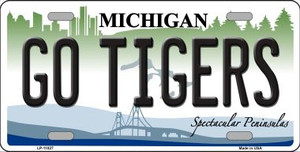 Go Tigers Michigan Background Wholesale Metal Novelty License Plate