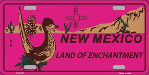 Roadrunner Pink New Mexico Wholesale Metal Novelty License Plate