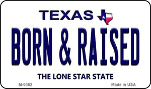 Born & Raised Texas Background Wholesale Novelty Metal Magnet