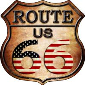 Route 66 American Flag Highway Shield Wholesale Novelty Metal Magnet