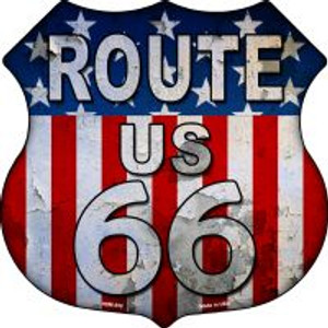Route 66 Vertical American Flag Highway Shield Wholesale Novelty Metal Magnet