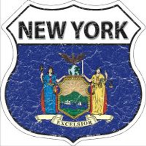 New York State Flag Highway Shield Novelty Metal Magnet