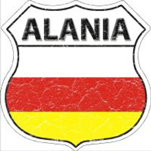 Alania Flag Highway Shield Novelty Metal Magnet