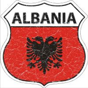 Albania Flag Highway Shield Novelty Metal Magnet
