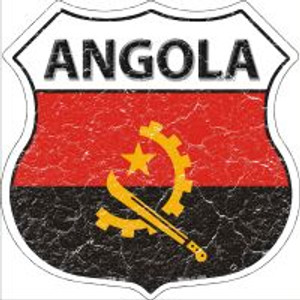 Angola Flag Highway Shield Novelty Metal Magnet