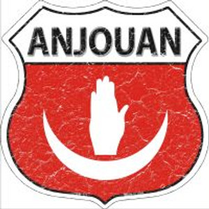 Anjouan Flag Highway Shield Novelty Metal Magnet