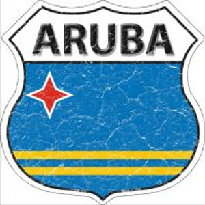 Aruba Flag Highway Shield Novelty Metal Magnet