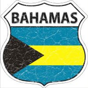 Bahamas Flag Highway Shield Novelty Metal Magnet