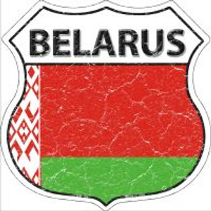 Belarus Flag Highway Shield Novelty Metal Magnet