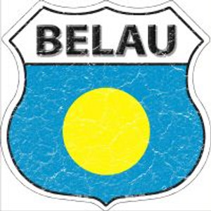 Belau Flag Highway Shield Novelty Metal Magnet