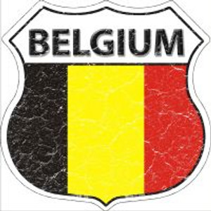 Belgium Flag Highway Shield Novelty Metal Magnet