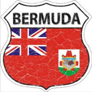 Bermuda Flag Highway Shield Novelty Metal Magnet