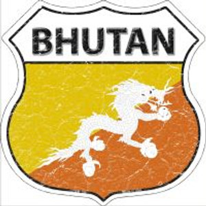 Bhutan Flag Highway Shield Novelty Metal Magnet