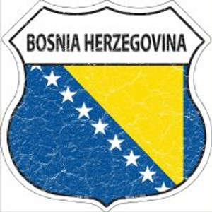 Bosnia Herzegovina Flag Highway Shield Novelty Metal Magnet