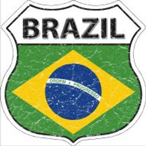 Brazil Flag Highway Shield Novelty Metal Magnet