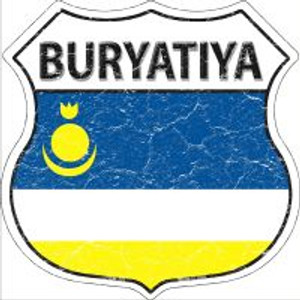 Buryatiya Flag Highway Shield Novelty Metal Magnet