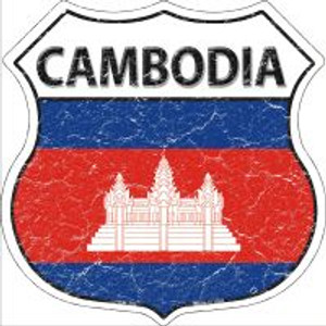 Cambodia Flag Highway Shield Novelty Metal Magnet