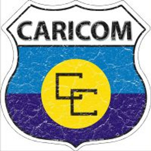 Caricom Flag Highway Shield Novelty Metal Magnet