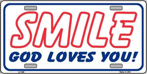 Smile God Loves You Wholesale Metal Novelty License Plate LP-255
